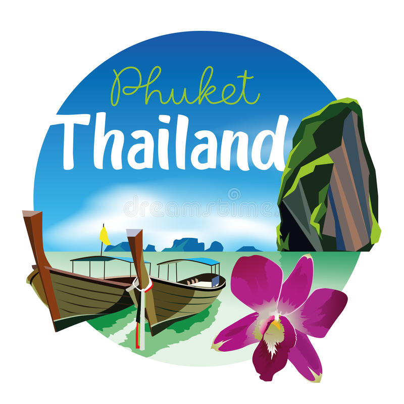 Free Phuket Thailand Beach Scenery Illustration With Orchid Royalty Free Stock Photography - 97455977