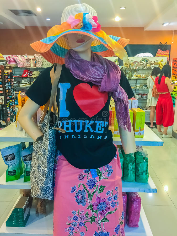 Phuket, Thailand - February 21, 2017: Phuket tourism logo printed screen on t-shirt and clothing for sale in souvenir shop stock photography