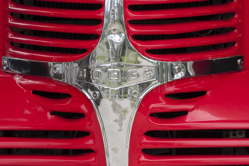 Classic American Dodge truck and US flag. royalty free stock images