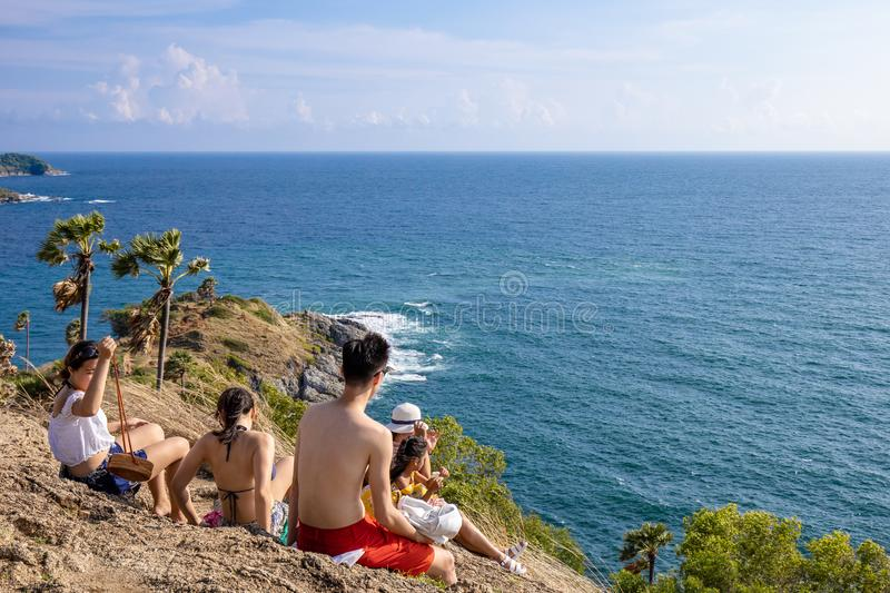 Asia Tourists looking to Seascape of Phuket Best View Point Sunset royalty free stock image