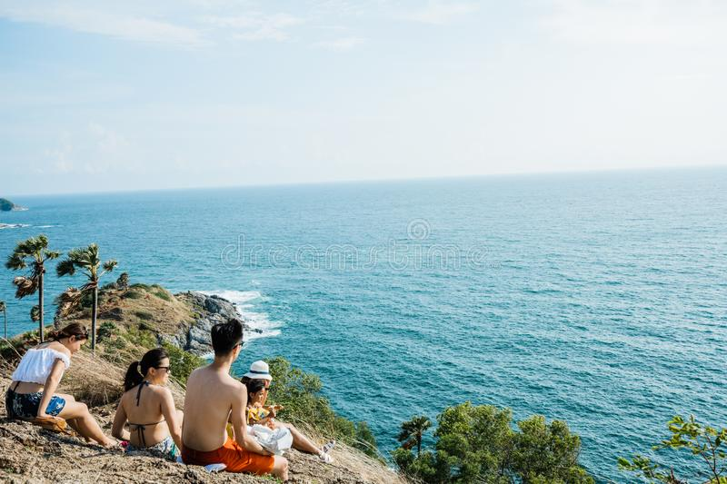Asia Tourists looking to Seascape of Phuket Best View Point Sunset stock images