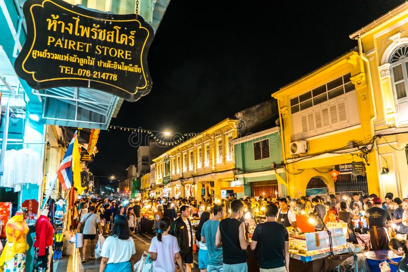 PHUKET, THAILAND - MAY 26, 2019 : Lard Yai Phuket Walking Street night market, Every Sunday famous Walking Street Market. Great royalty free stock photos