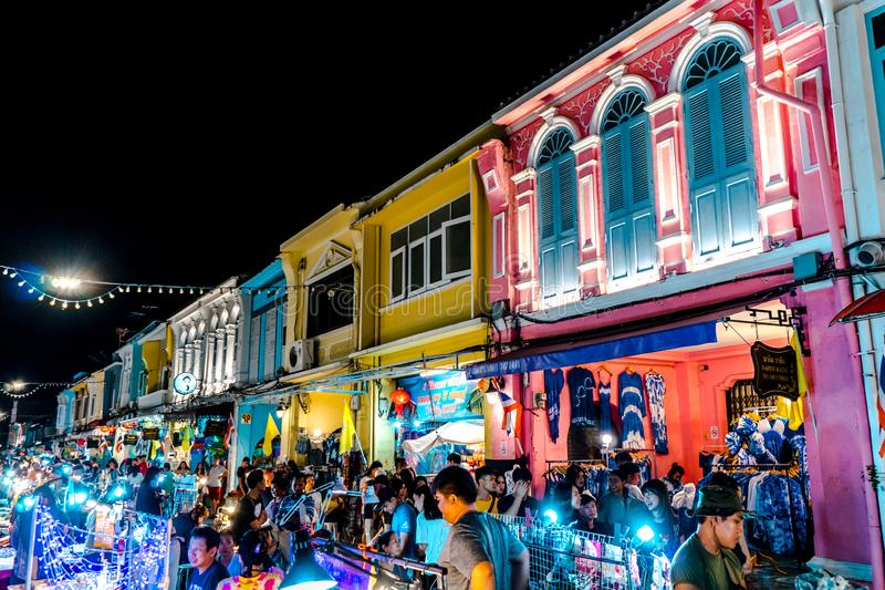 PHUKET, THAILAND - MAY 26, 2019 : Lard Yai Phuket Walking Street night market, Every Sunday famous Walking Street Market. Great royalty free stock image