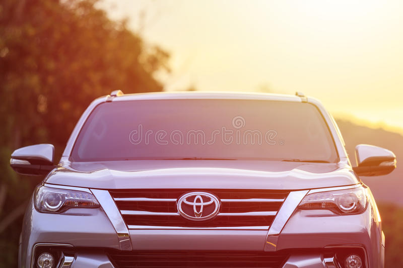 PHUKET, THAILAND - NOVEMBER 3 : Private car, Toyota New Fortuner parking on the asphalt road in Phuket on November 3, 2016. The o stock images