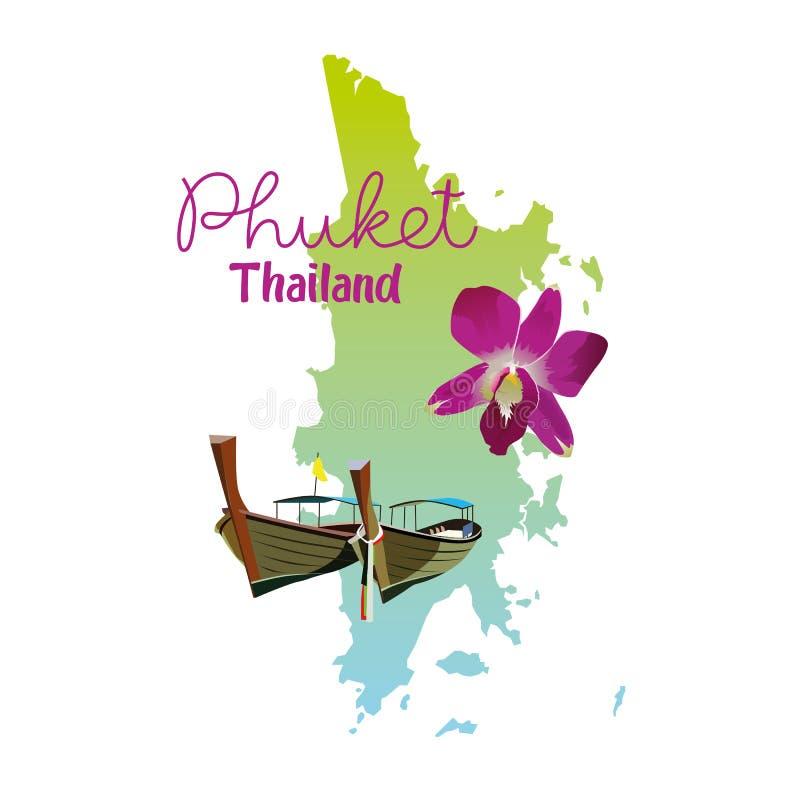 Phuket wyspy mapa w Tajlandia ilustracja wektor