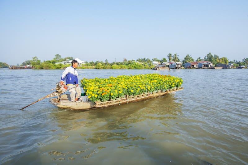 Phung Hiep floating market at seven-ways crossroads (Nga Bay), Can Tho city, Tien Giang. Local flower boat at Phung Hiep floating market, 7-ways crossroads Nga stock images