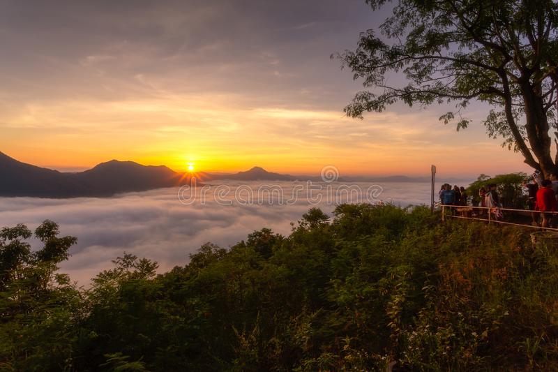 [Phutok] sea of cloud in the morning at Phutok hill view point,. Chiangkhan, Loei Province, Thailand royalty free stock image