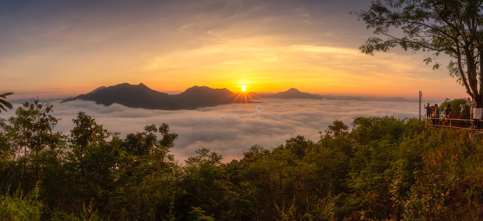 [Phutok] sea of cloud in the morning at Phutok hill view point,. Chiangkhan, Loei Province, Thailand royalty free stock photography