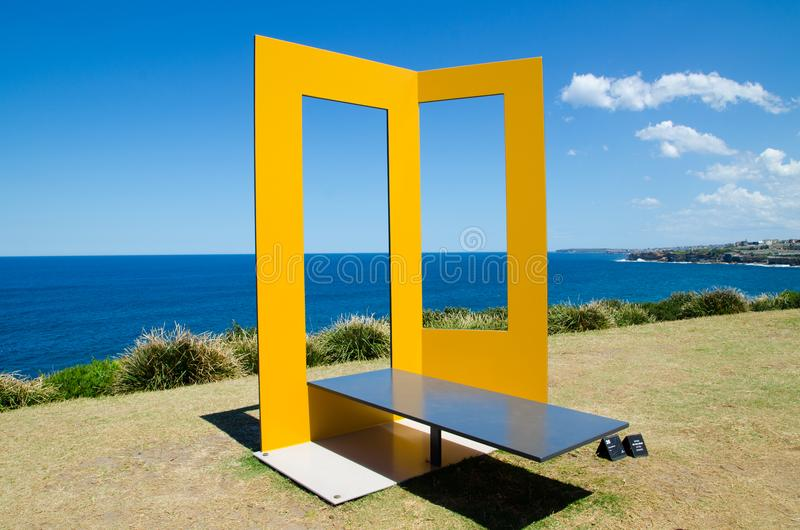 ` Phyli ` is a sculptural artwork by Paul Selwood at the Sculpture by the Sea annual events free to the public sculpture. SYDNEY, AUSTRALIA. – On October royalty free stock photo