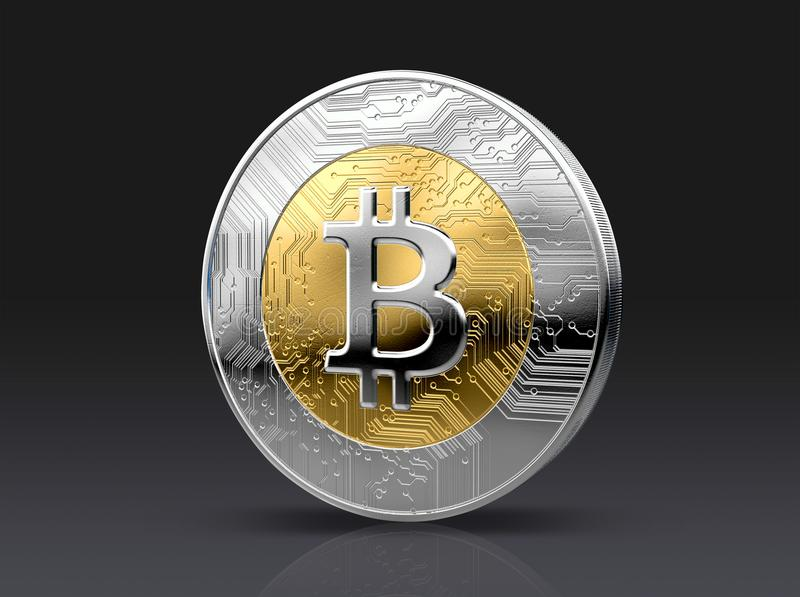 Cryptocurrency Physical Coin. A physical bitcoin cryptocurrency in gold and silver coin form on a dark studio background- 3D render stock illustration