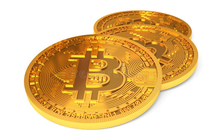 Physical Bitcoins isolated on white background. Golden coins with bitcoin symbol closeup vector illustration