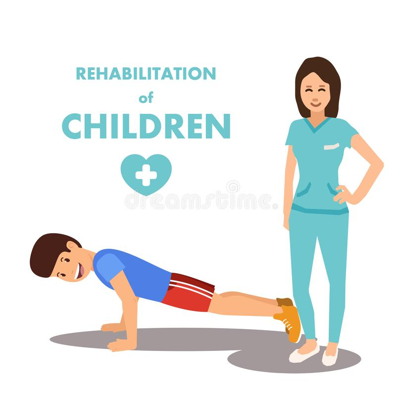 Physical Development and Rehab for Children Advert. Poster Presenting Rehabilitation Center and Professional Staff. Woman Doctor and Boy Doing Push-ups. Vector royalty free illustration