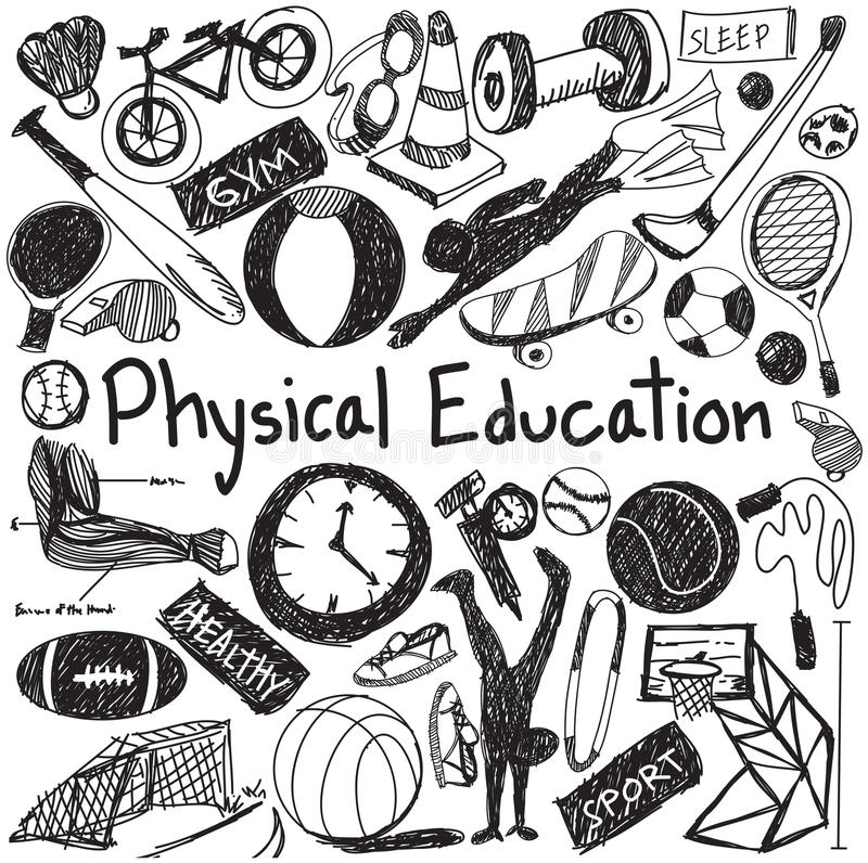 Free Physical Education Exercise And Gym Education Chalk Handwriting Stock Photos - 65912983