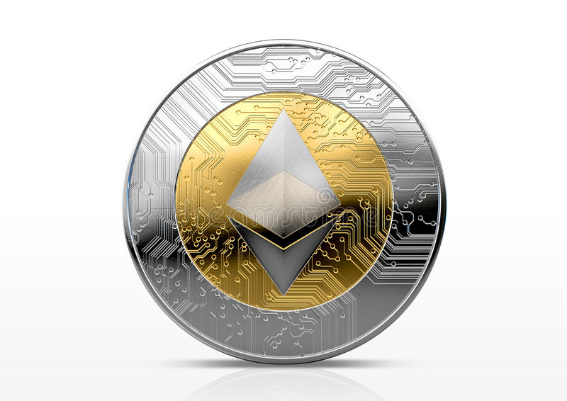 Cryptocurrency Physical Coin. A physical ethereum cryptocurrency in gold and silver coin form on a dark studio background- 3D render stock illustration