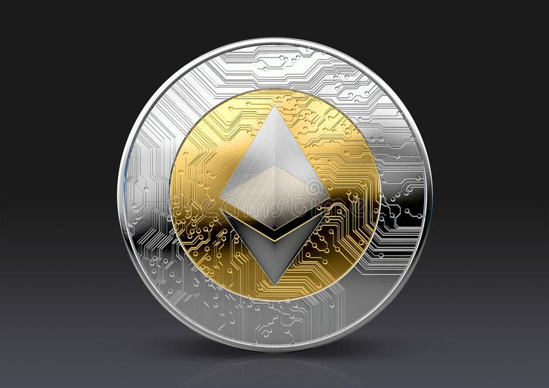 Cryptocurrency Physical Coin. A physical ethereum cryptocurrency in gold and silver coin form on a dark studio background- 3D render vector illustration