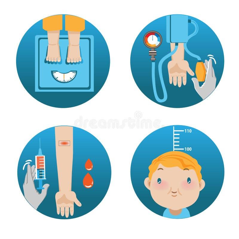 Physical Exam. Cartoon illustration vector illustration