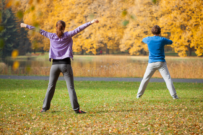 Physical exercices outdoors royalty free stock photography