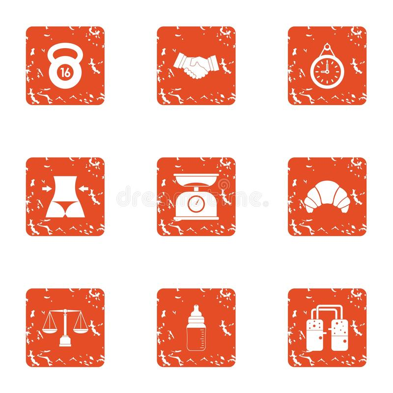 Physical exertion icons set, grunge style. Physical exertion icons set. Grunge set of 9 physical exertion vector icons for web isolated on white background vector illustration