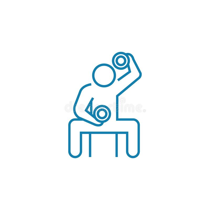 Physical exertion linear icon concept. Physical exertion line vector sign, symbol, illustration. Physical exertion line icon, vector illustration. Physical royalty free illustration
