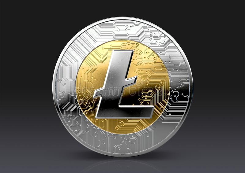 Cryptocurrency Physical Coin. A physical litecoin cryptocurrency in gold and silver coin form on a dark studio background- 3D render royalty free illustration