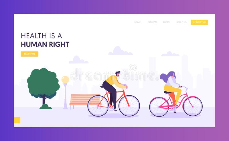 Physical Male and Female Riding Bicycle Landing Page. Healthy Lifestyle Outdoor Concept. Active People Character in Park. Website or Web Page. Summer Activities stock illustration