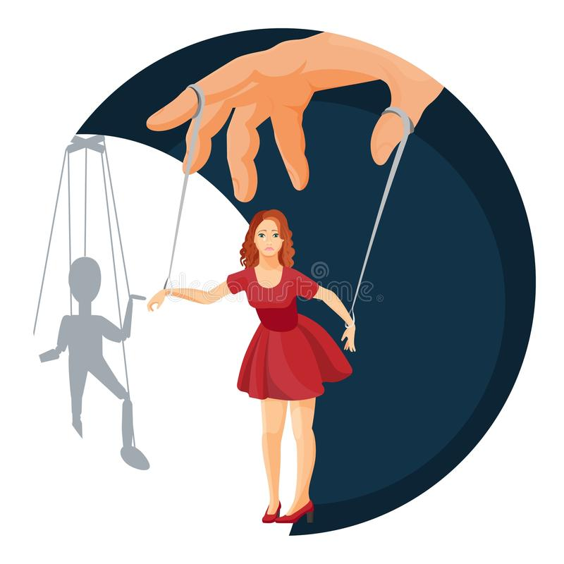 Physical manipulation over woman, social problem themed poster. Physical manipulation over women, social problem themed poster. Female character attached with royalty free illustration