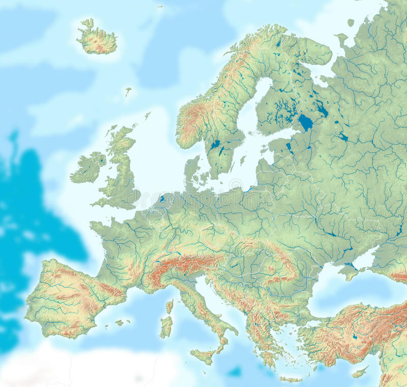 Physical map of Europe stock illustration Illustration of landscape