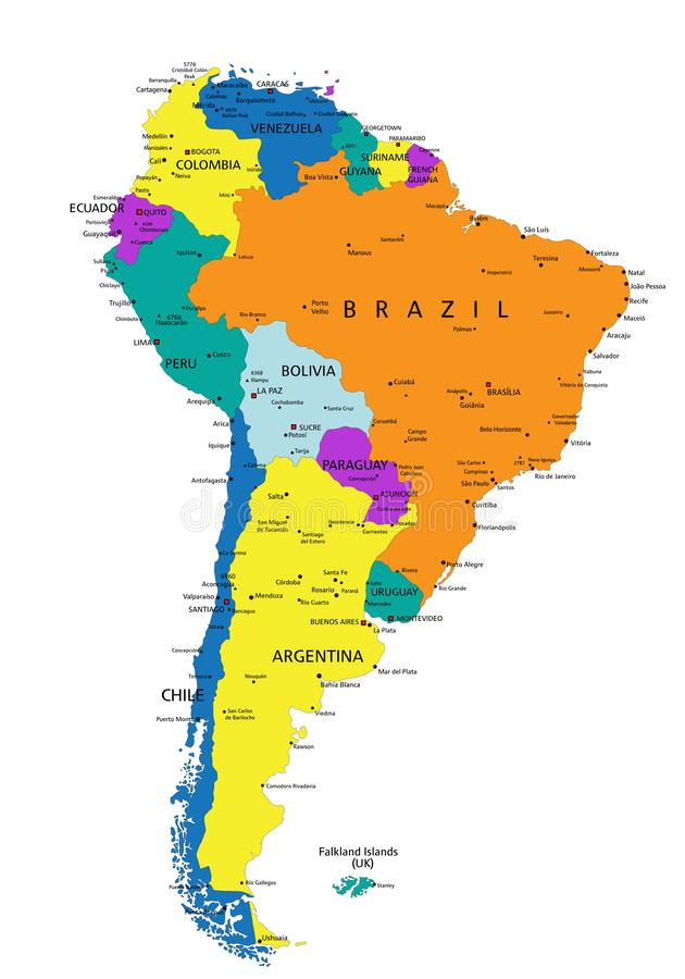 Colorful South America political map with clearly labeled, separated layers. stock illustration