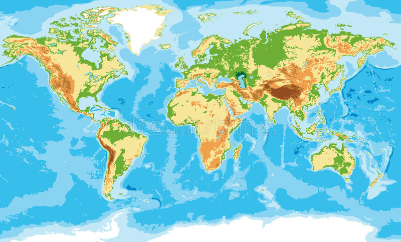 Physical map of the world. Highly detailed physical map of the world,in vector format,with all the relief forms vector illustration