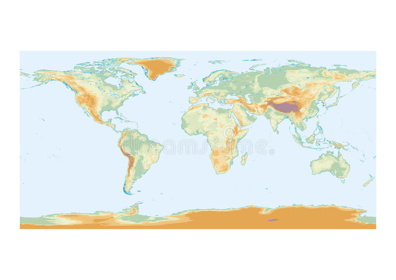 Physical map of the world stock illustration