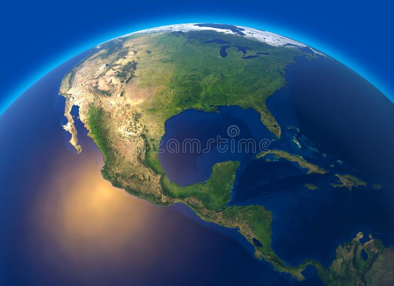 Physical map of the world, satellite view of central America. Globe. Hemisphere. Reliefs and oceans vector illustration