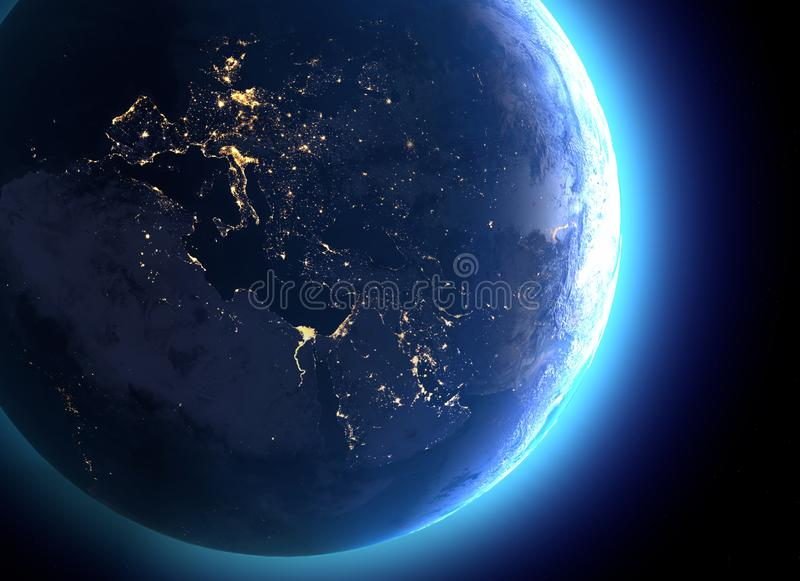 Physical map of the world, satellite view of Europe and North Africa. Night view. City lights. Globe. Hemisphere. Reliefs. And oceans. 3d rendering. Elements of stock illustration