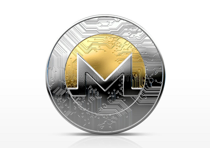 Cryptocurrency Physical Coin. A physical monero cryptocurrency in gold and silver coin form on a dark studio background- 3D render royalty free illustration