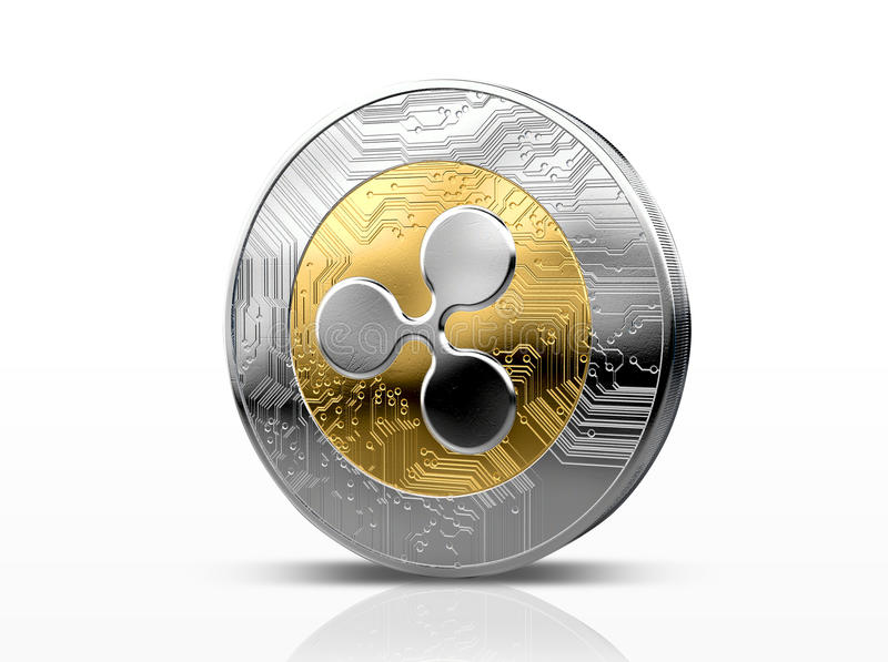 Cryptocurrency Physical Coin. A physical ripple, cryptocurrency in gold and silver coin form on a dark studio background- 3D render vector illustration