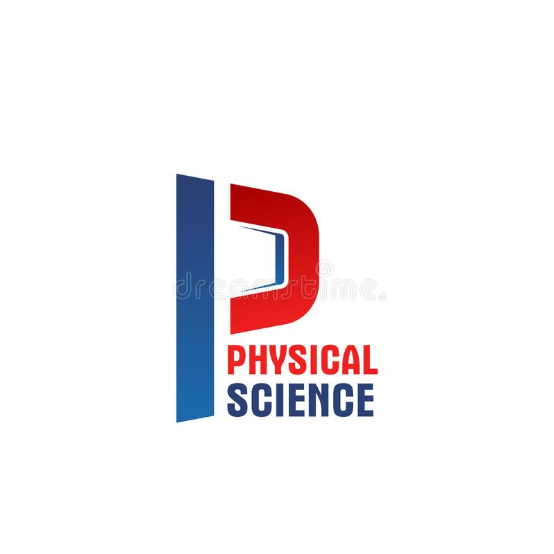 Physical science vector letter P icon. Letter P icon for physical science concept in medicine or sport. Vector geometric power symbol of letter P for gym or stock illustration