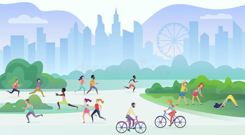 Physical sport outdoors activity in city public park. People are running, cycling and doing yoga. Sport and fitness royalty free illustration