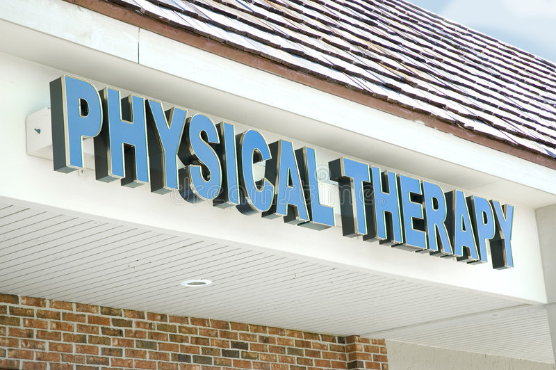 Physical therapy sign. A bright blue signs indicates the location of a physical therapy office