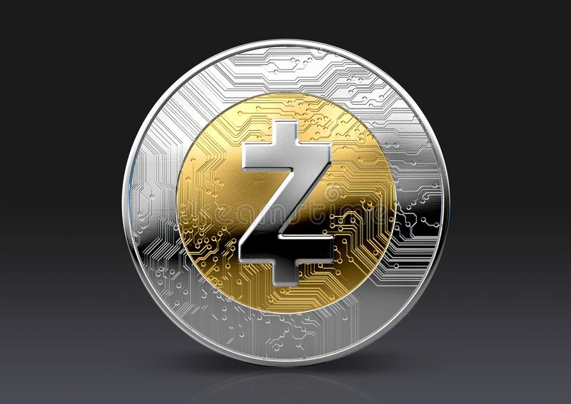 Cryptocurrency Physical Coin. A physical zcash cryptocurrency in gold and silver coin form on a dark studio background- 3D render royalty free illustration