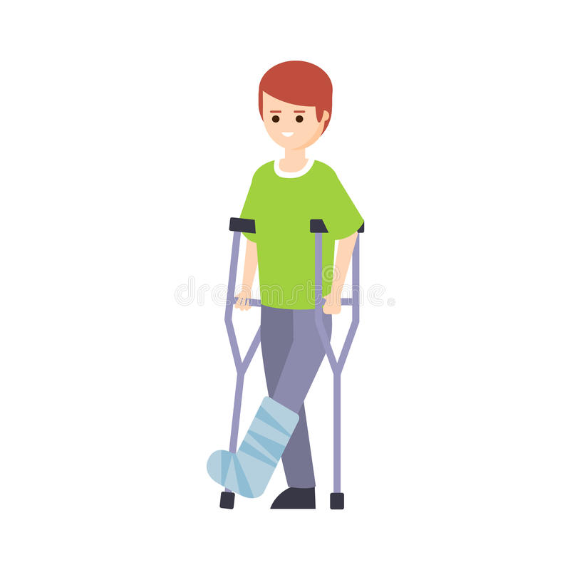 Physically Handicapped Person Living Full Happy Life With Disability Illustration With Smiling Guy With Broken Leg On. Crouches. Disabled Cartoon Character With stock illustration