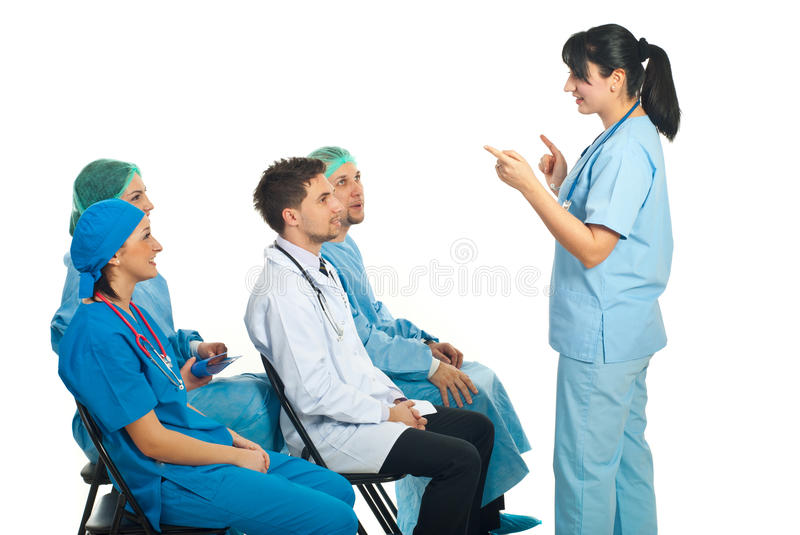 Physician woman explain  in front of class