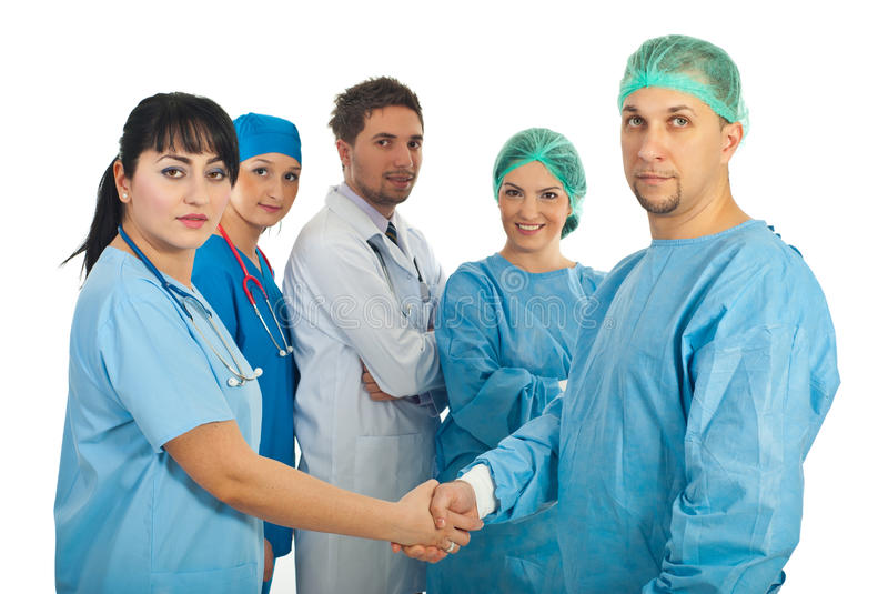 Download Physician Woman And Surgeon Man Handshake Stock Image - Image: 17951499