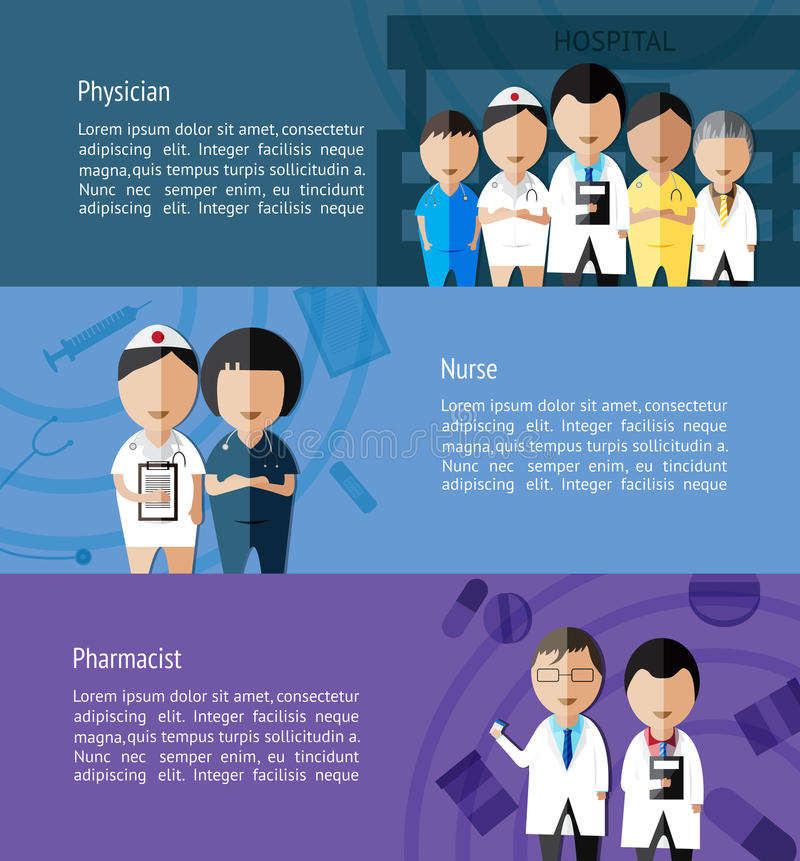Physicians such as doctor, nurse, and pharmacist and health care royalty free illustration
