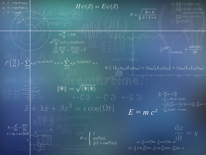 Physics background. A background of physics formulas and diagrams in blue