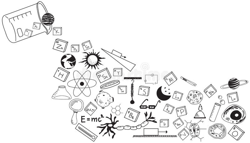 Physics, chemistry, biology and astronomy science doodle royalty free illustration