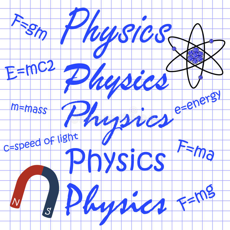 Physics in different handwritings, the formula on notebook sheet royalty free stock photos