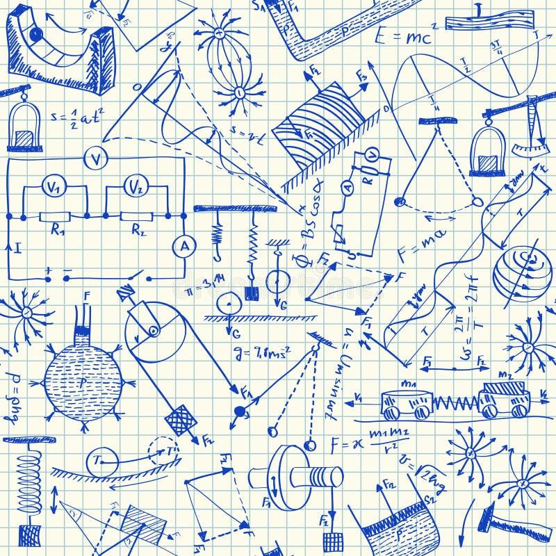 Physics doodles bezszwowego wzór royalty ilustracja
