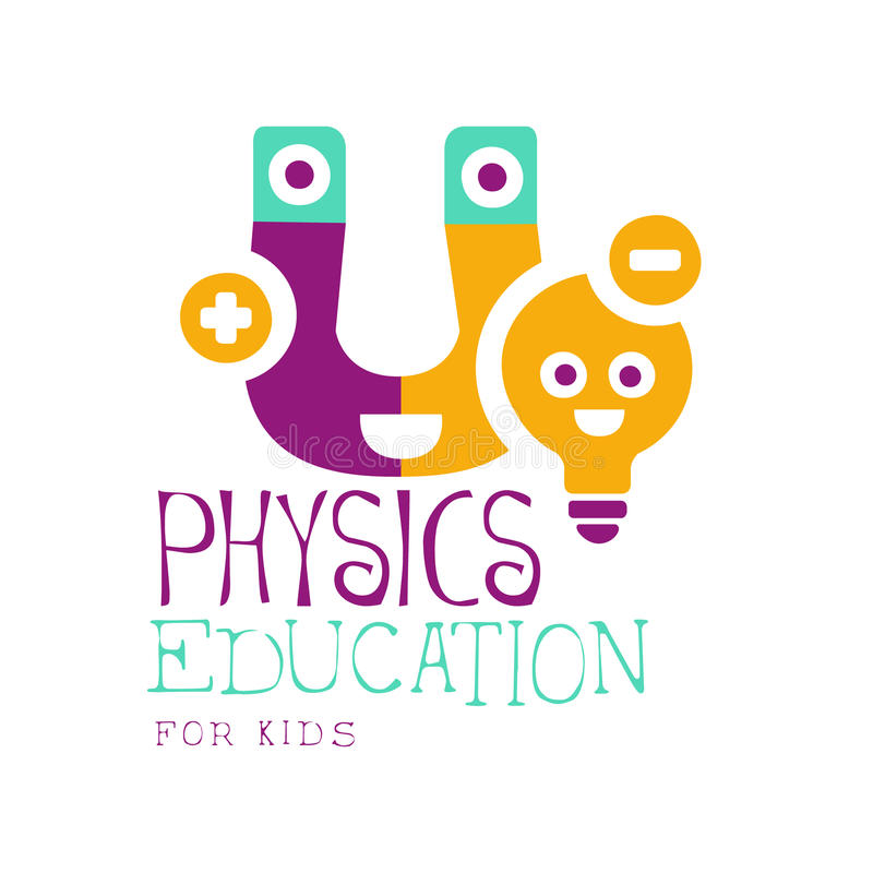 Physics education for kids logo symbol. Colorful hand drawn label stock illustration