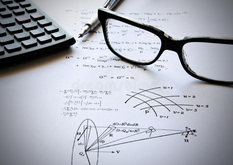 Physics exercises and school stock photos