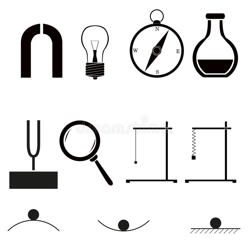 Download Physics icons stock vector. Illustration of physics, education - 26449810
