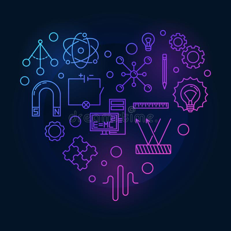 Physics icons in heart shape - vector colored line illustration vector illustration